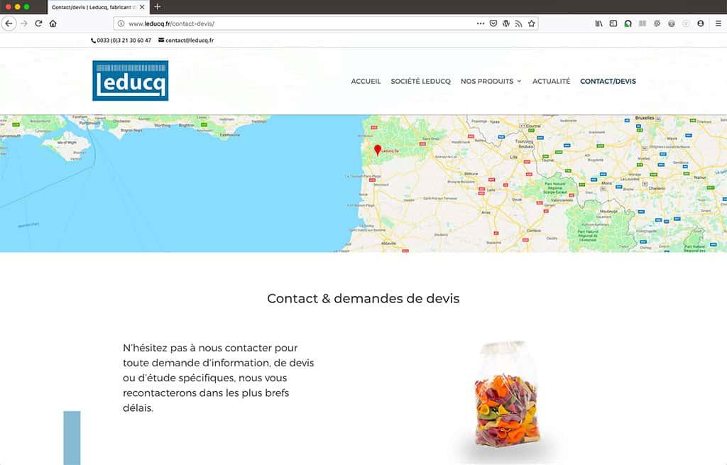 Refonte du site internet leducq.fr, page de contact