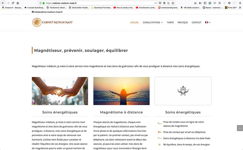 Création de contenus optimisés pour le référencement pour le site internet Cabinet Médium Maàt