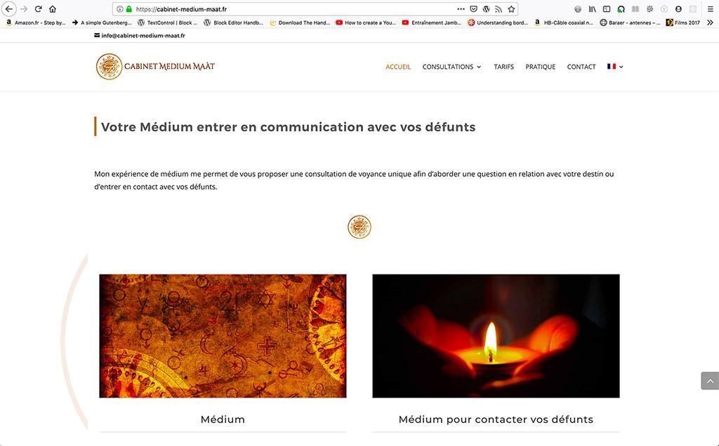 Design graphique pour la création di site Cabinet Médium Maàt