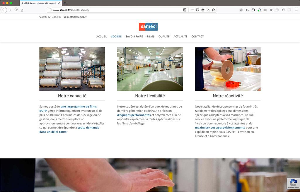 Création du site du fabricant de films plastiques Samec, page des films