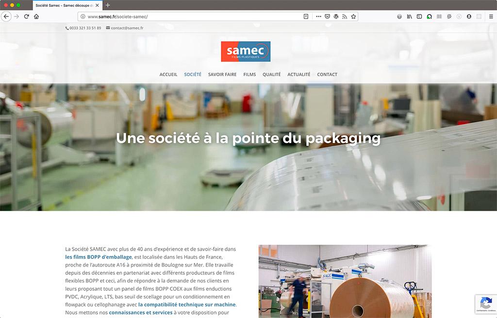 Création du site internet du fabricant de films plastiques Samec, page de présentation de la société