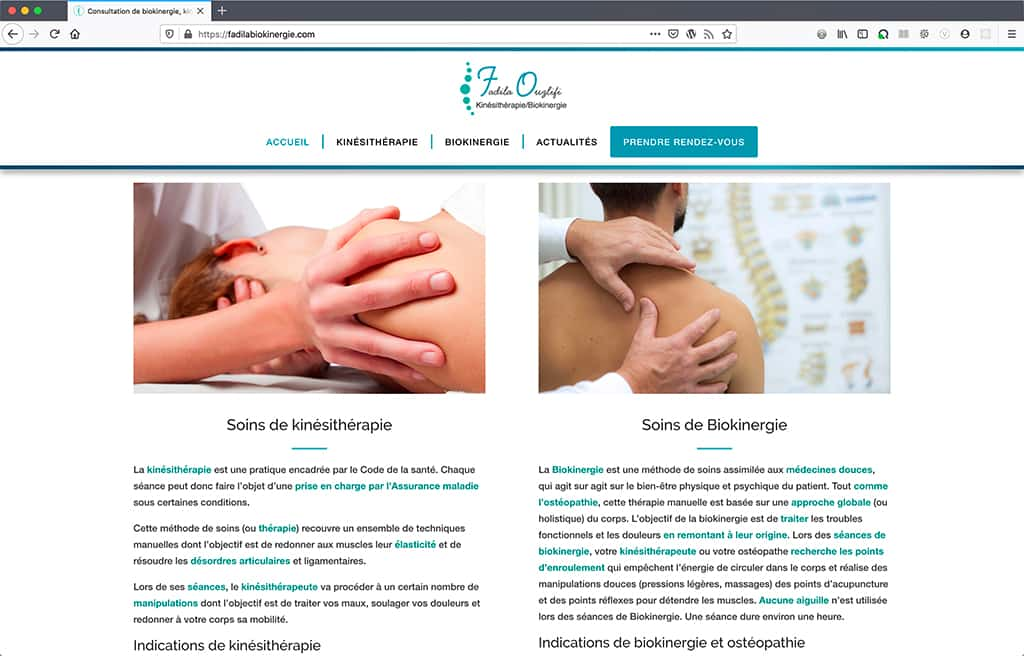 Création du site internet du cabinet de kinésithérapie et biokinergie de Fadila Ouzlifi