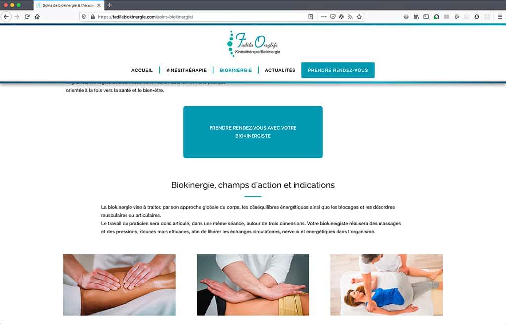 Création du site internet du cabinet de Biokinergie de Fadila Ouzlifi