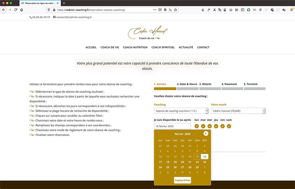 Création d'un site de coach en ligne, formulaire de réservation en ligne | CDW