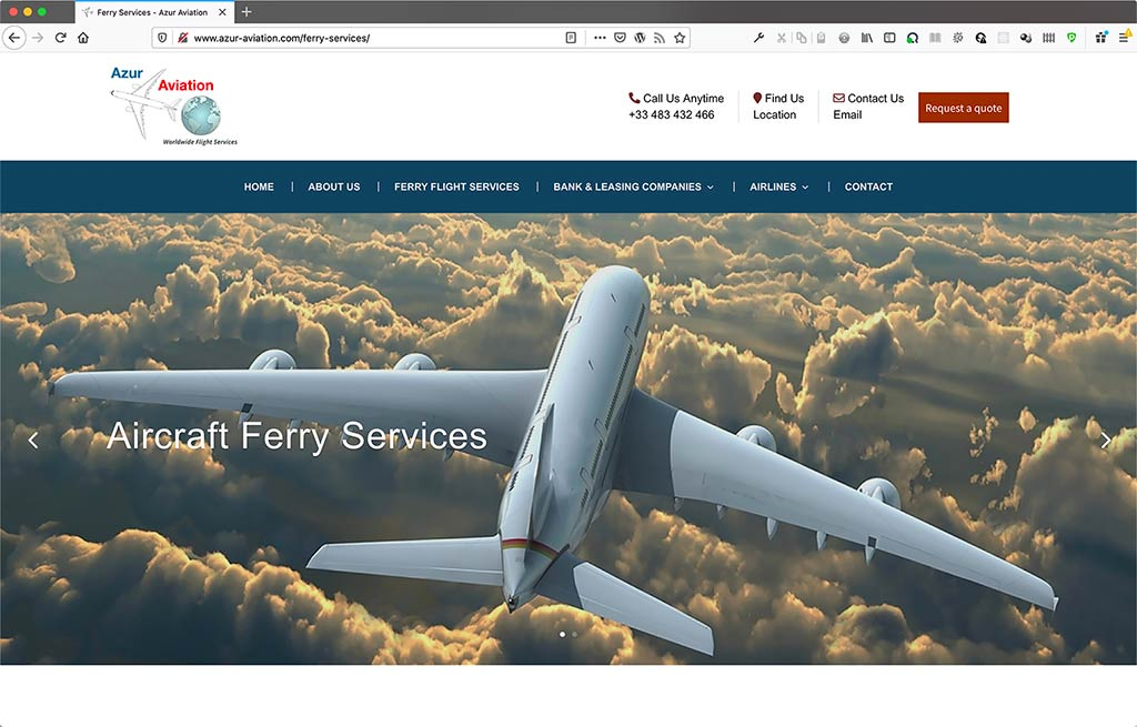 Creation du site de la compagnie aérienne Azur Aviation - bannière de page de services - CDW