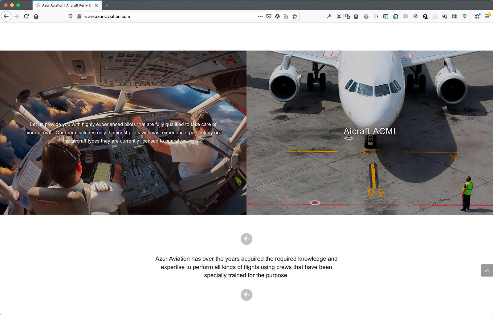 Creation du site de la compagnie aérienne Azur Aviation - section de page interne - CDW