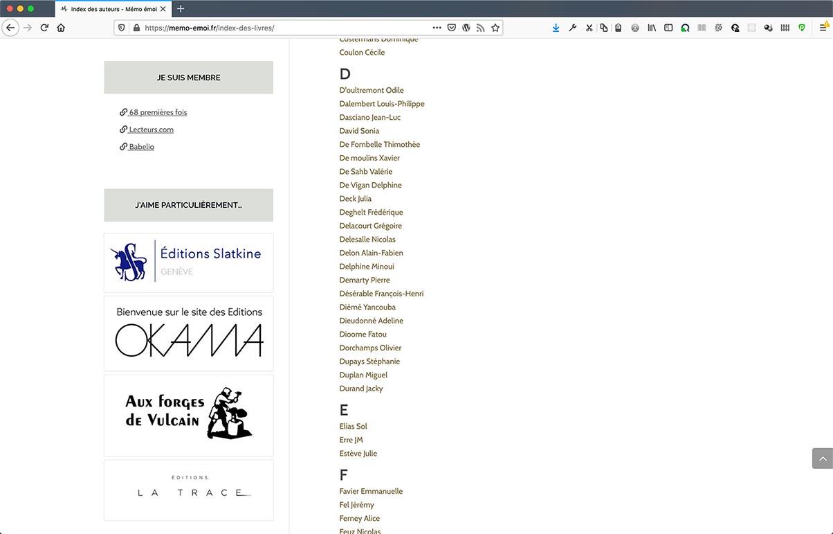 Refonte de blog Mémo Émoi | page d'index des auteurs