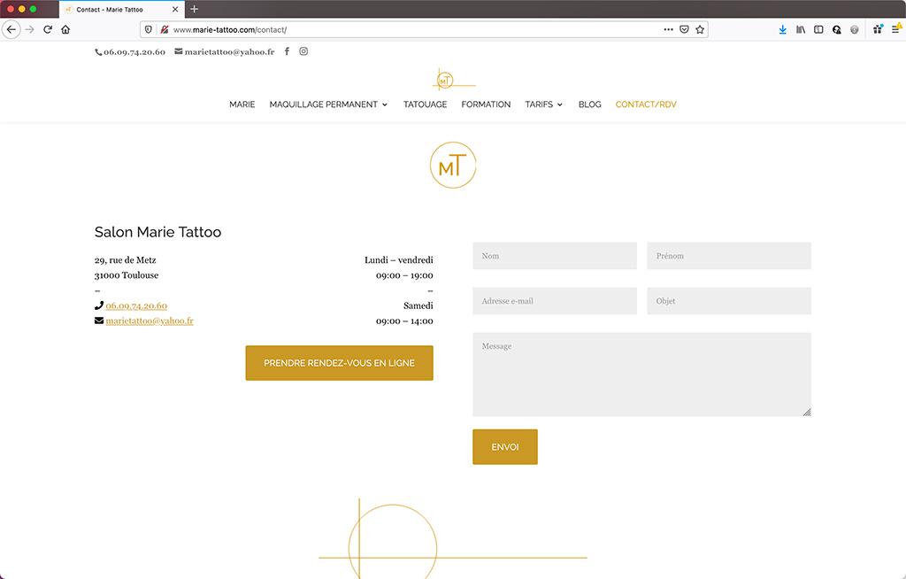 Création d'un site vitrine de salon de beauté à Toulouse   Page de contact   CDW