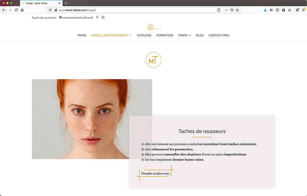 Création d'un site vitrine de salon de beauté à Toulouse | Page de service | CDW