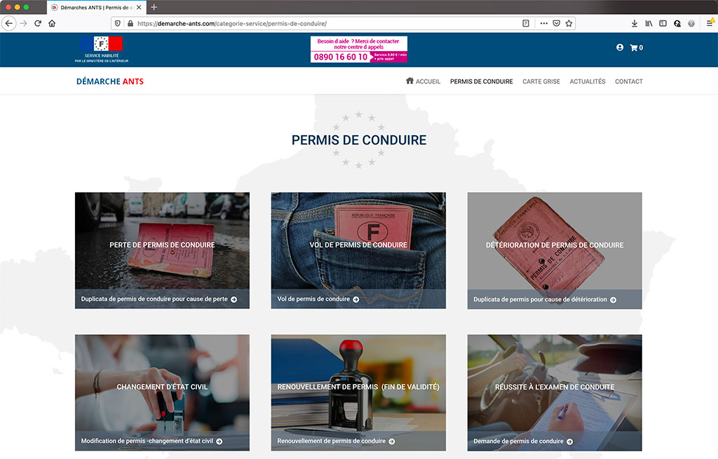 Réalisation e-commerce de services ANTS, page de catégorie de produits   CDW