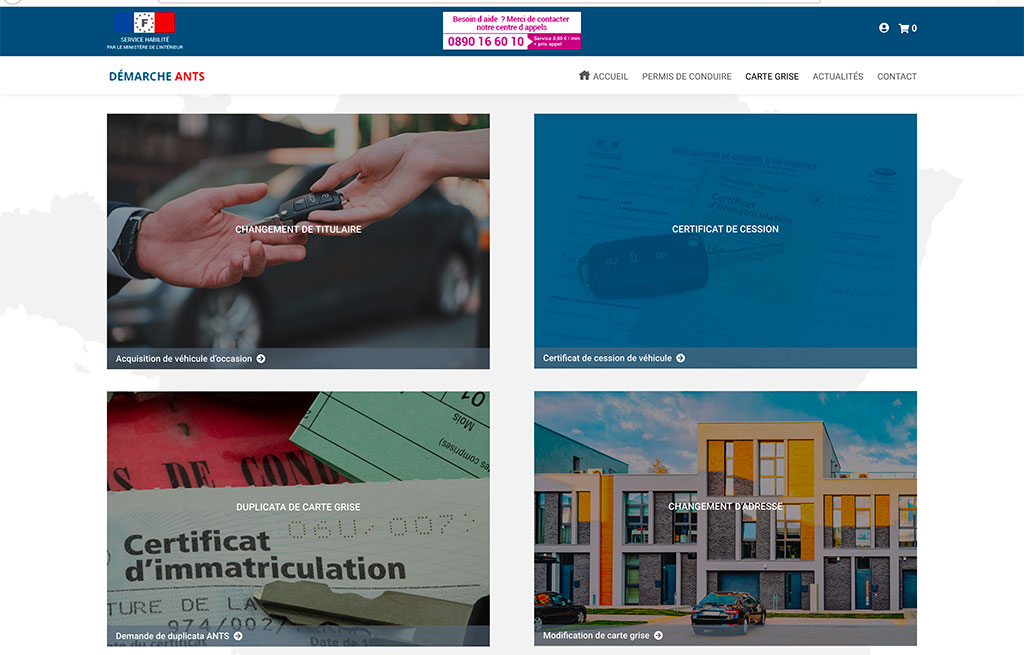 Réalisation e-commerce de services ANTS, page interne   CDW