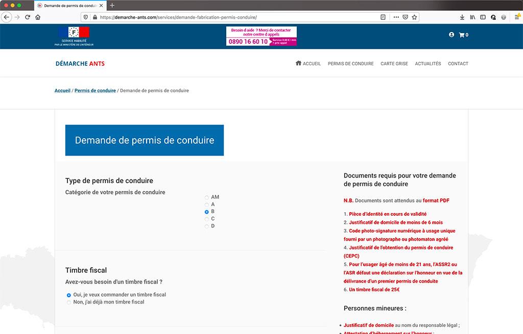 Réalisation e-commerce de services ANTS, page de produit   CDW