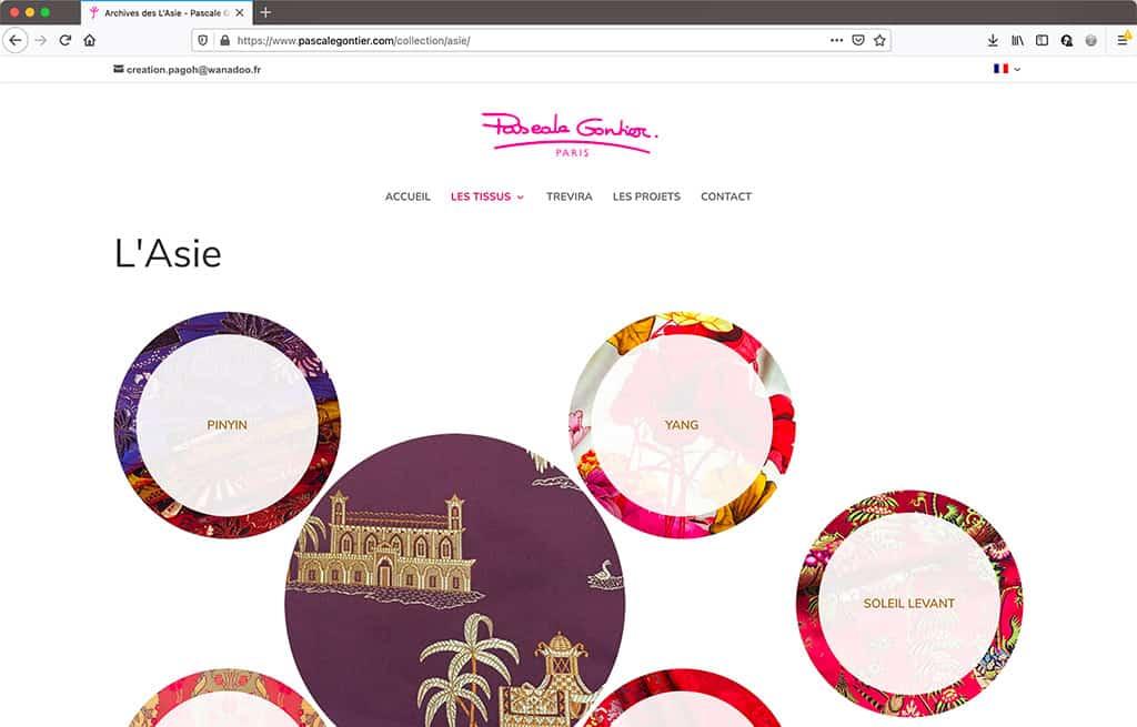 Refonte du site vitrne de Pascale Gontier - page de collection de tissus | CDW