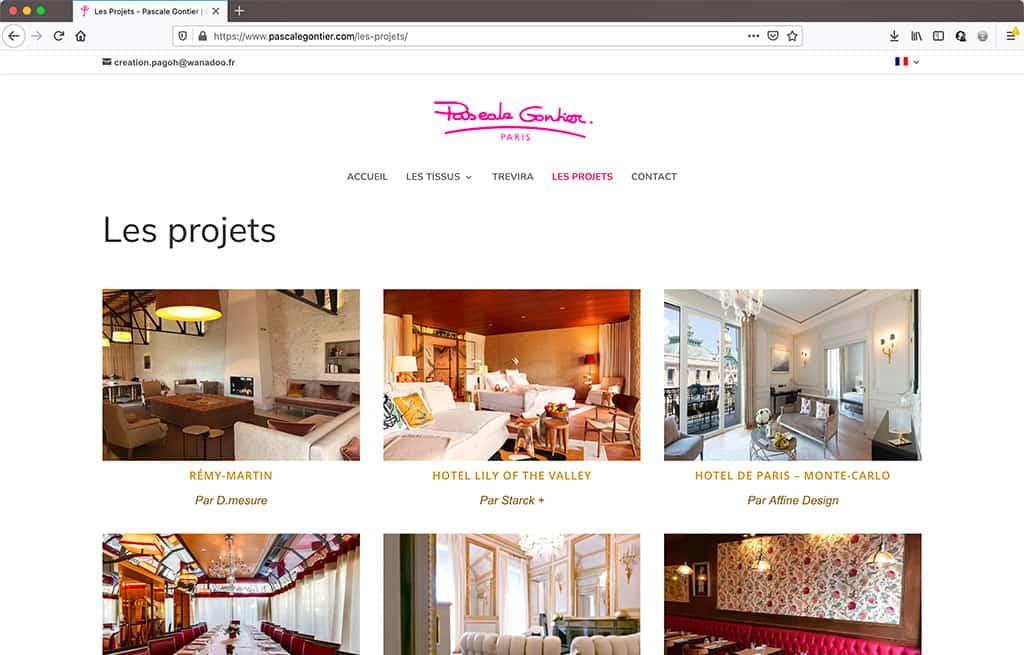 Refonte du site vitrne de Pascale Gontier - page des projets   CDW