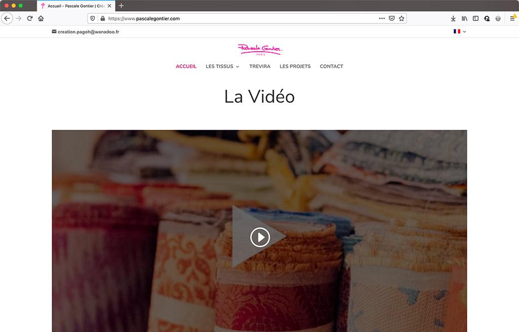 Refonte du site vitrne de Pascale Gontier - page d'accueil - viédo   CDW