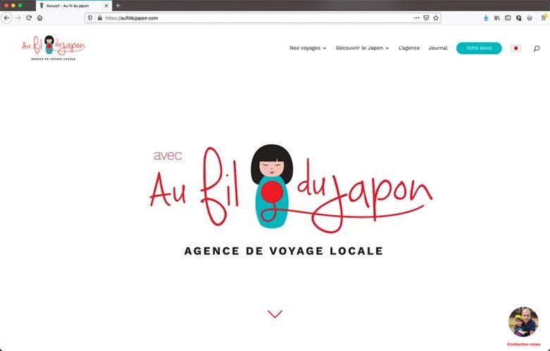 Refonte du site de l'agence de voyage Au Fil du Japon - page d'accueil |CDW