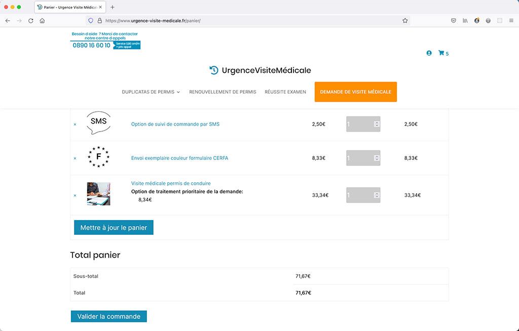 Creation d'un site e-commerce de vente en ligne de prise de rendez-vous médicaux, page de panier   CDW